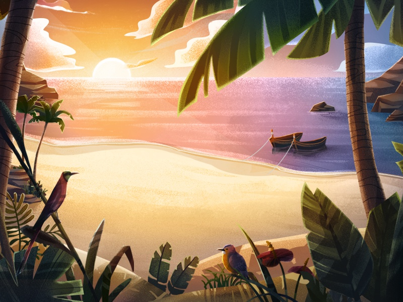 Zanzibar sunset birds africa sand warm cartoon series photoshop beach character animated series background animation