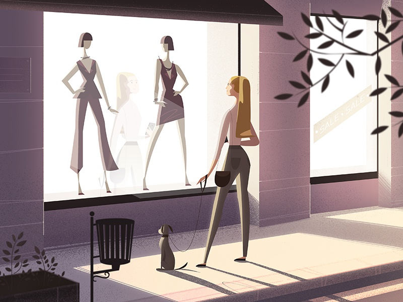 You should be mine shopping dress explainer animated ad commercial book illustration shop window sale walk beauty warm day