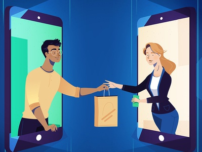 Monetha - blockchain technology on-line purchases shopping technology blockchaintechnology blockchain motion graphics explanatory video after effects explainer character animation character commercial illustration design explainer video animation