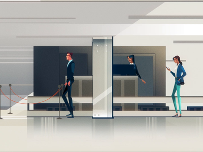 Mubadala - Secure screening motion graphics explainer video character animation hi tech tech computer scan technology illustration design character 2d 3d animation journey travel business security