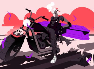 The Riding Reaper 2d animation illustration color death ghost costume smoke sport bike art design style black horror halloween