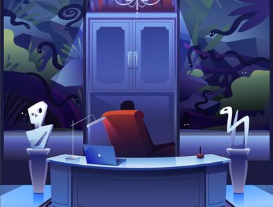 YEP Academy blublustudios character design design graphics 2d animation animation illustration snake evil office man