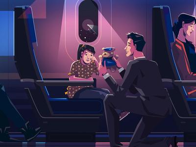 Empathy peace purple light color journey travel airplane plane toy child