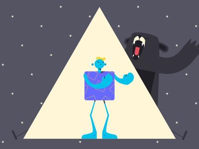 Blu Monday brand man character design 2d animation run fight light bear black depression fear design animation illustration app blue monday
