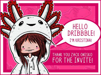Hello Dribbble! cartoon axolotl illustration debut dribbble