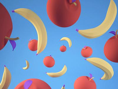 Frutas food fruit 3dmodel banana apple 3d