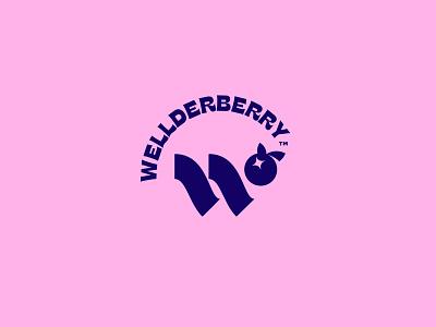 Wellderberry Concept branding navy pastel w logo icon berry monogram letter
