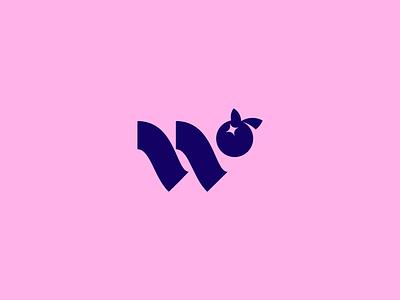 Wellderberry Mark navy pastel w letter monogram logo branding mark