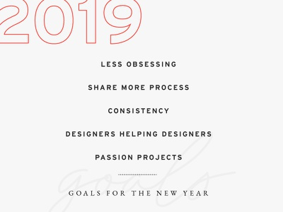 2019 Goals list goals 2019