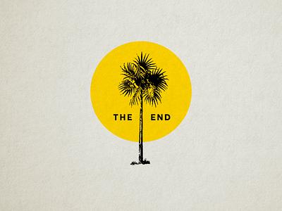 Palm Tree sunset icon minimal simple yellow botanical palm