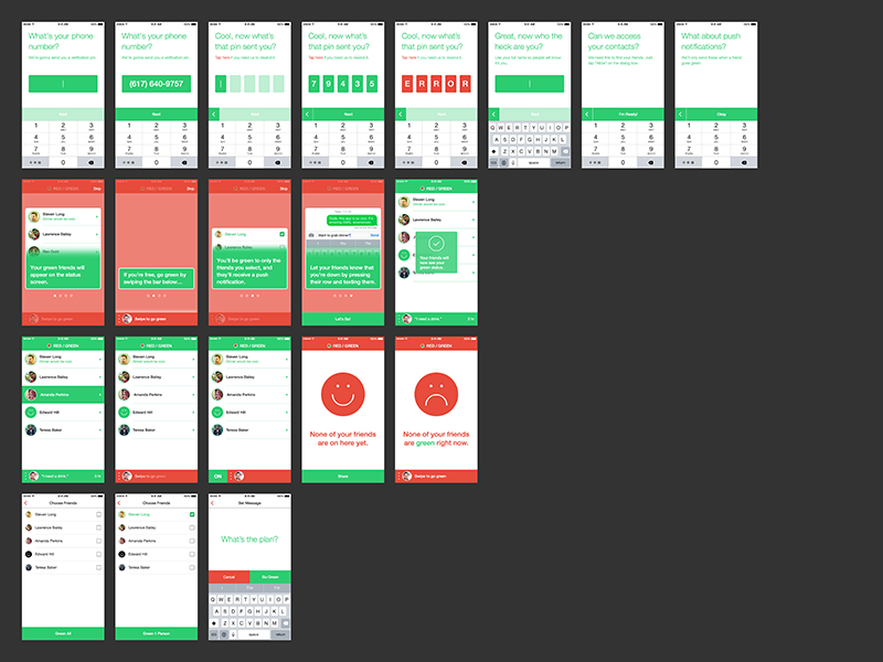 Red/Green mockups ios mobile screens flows iphone ux branding red green