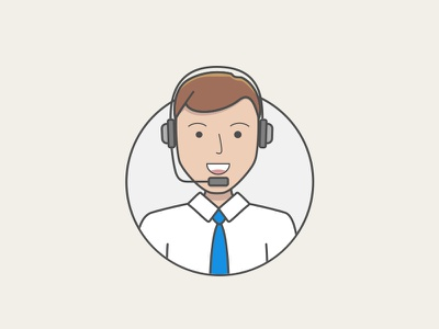 Jimbo on the mic office shirt headset shadow light web ui icon illustration character avatar