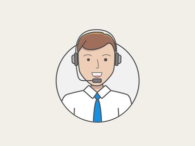Jimbo on the mic office shirt headset shadow light web ui icon illustration character avatar