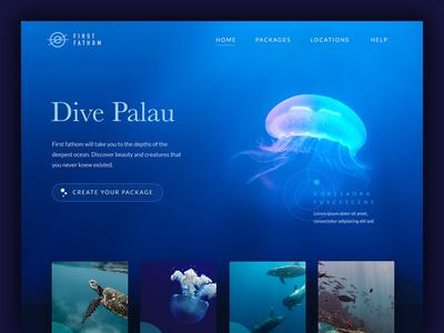 First Fathom Diving School web ux ui diving navigation menu logo icons icon grid digital design