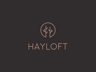 Hayloft brand leather pattern packaging tree symbol logo design brand