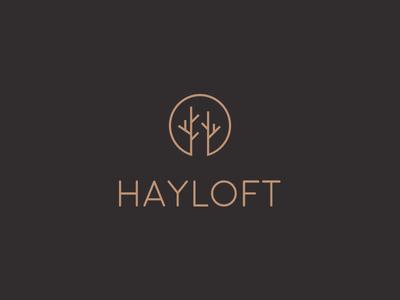 Hayloft brand leather pattern packaging tree symbol logo design brand