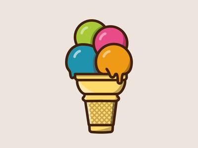 Ice cream sticker color cone design illustration ice cream sticker