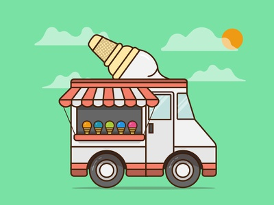 Ice cream van cone truck window wheel car cloud sun illustration van ice cream