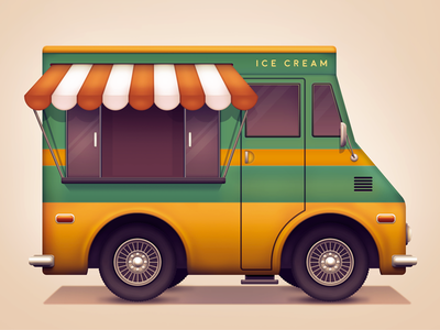 Ice cream van flavours car window wheels drive metal van truck ice cream