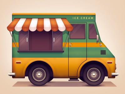 Ice cream van flavours car window wheels drive metal van truck ice cream