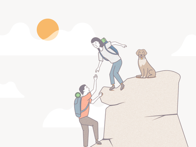 Support support rucksack rock people dog illustration climb character avatar