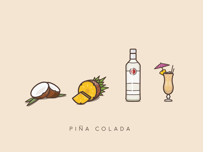 Piña colada cocktail umbrella metal glass rum cut leaves leaf pineapple illustration coconut pina colada cocktail