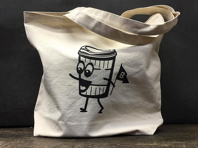 Coffee tote cup eyes legs lid flag mouth face character coffee bag tote