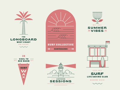 Surf Collective minimal vector branding illustration logo new zeland surf
