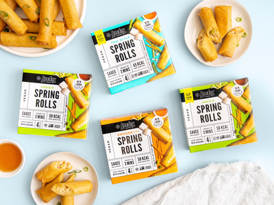 Lucky Foods Rebrand vegan frozen food grocery cuisine asian american korean asian spring rolls packaging lucky