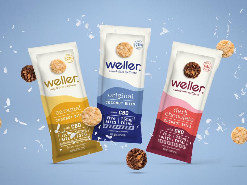 Weller packaging snack caramel chocolate coconut bites cbd cannabis weller