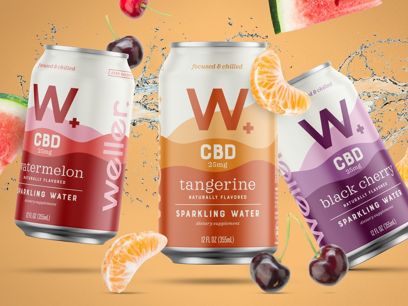 Weller black cherry watermelon tangerine citrus refreshing sparkling water sparkling packaging bites cbd cannabis weller