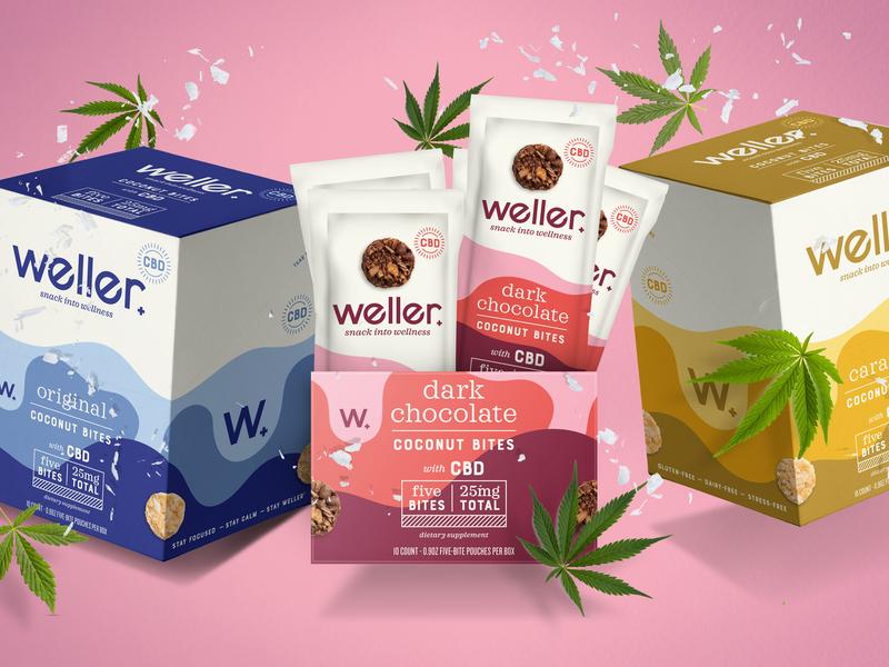 Weller snacking healthy wellness packaging snack caramel chocolate coconut bites cbd cannabis weller