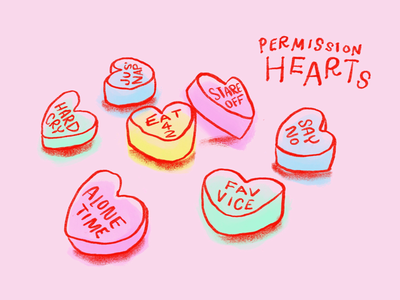 Permission Hearts february valentine heart cry alone self care conversation hearts valentines
