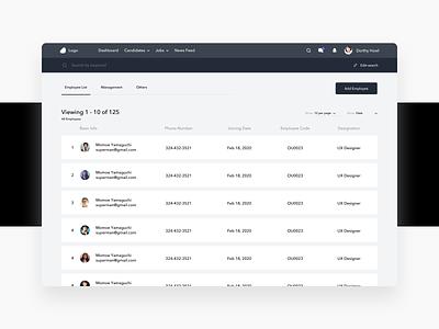 Employee Profiles dashboard web black white ux ui