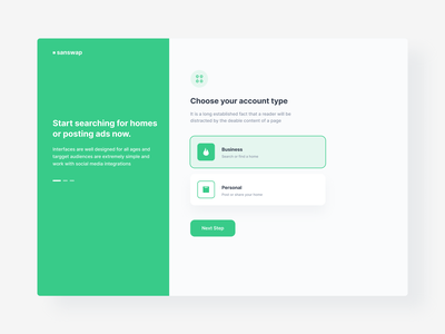 Select Account Type design dashboard green white ux ui