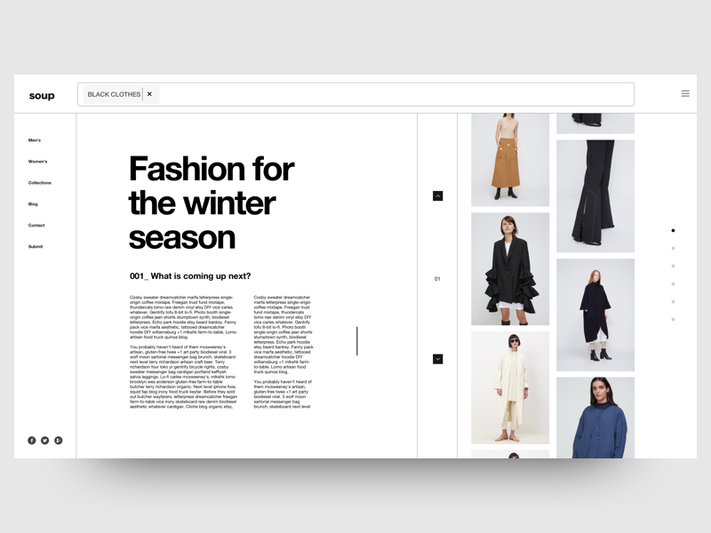 Winter Collection web collection blog model fashion clean black white ux ui