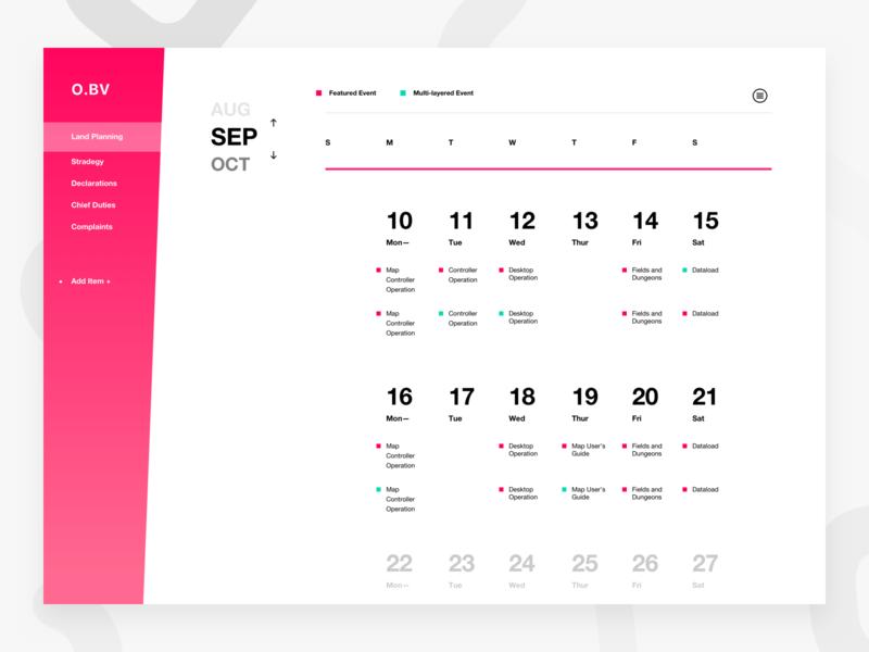 Calendar Dashboard blue pink calendar design red black web dashboard white ux ui
