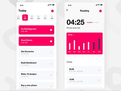 Timed Tasks tasks mobile app design red pink mobile white ux ui