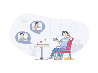 Virtual Meeting Illustration character bukalapak