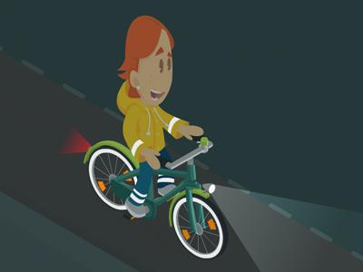 Night Rider lesmateriaal illustratie verkeer bike freelance illustrator vector fiets verkeersmethode