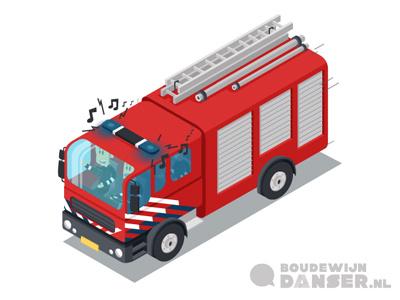 Isometric Firetruck brandweer auto illustratie lesmateriaal illustrator iso truck verkeersmethode
