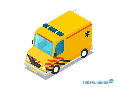 Isometric Ambulance vector isometrie dordrecht illustrator