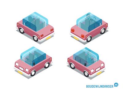 Little isometric pink car dordrecht illustratie auto isometrie