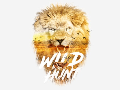 Lion retouch typography hunt wild lion double exposure