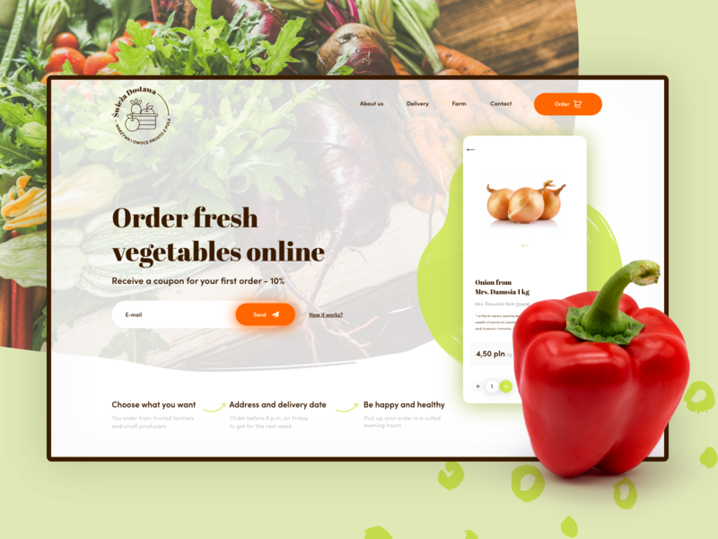Fruits and Vegetables - Local shopping App 🥕 🍅 🥬 website homepage product lifrestyle health ui vegetables design food farmer ecommerce fit shopping vegan concept logo app webdesign