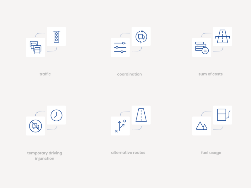 Transport Icon set 🛣️📦 minimal clean logo homepage webdesign vector ai design driver auto maps transports shapes branding identity icon design transport icon