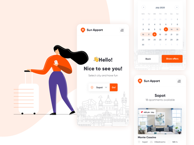 Sun Appart - mobile app design☀️🏖️ 🏠 planning sun branding illustration mobile minimal travel trip holiday card vacation rental app apartment renting product design orange logo uiux ux flat app