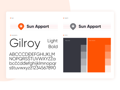 Sun Appart - Branding ☀️🏖️ 🏠 gilroy orange sun logo planning travel trip app holiday vacation rental renting apartments product design logotype mark typography logo typo typography visual identity branding