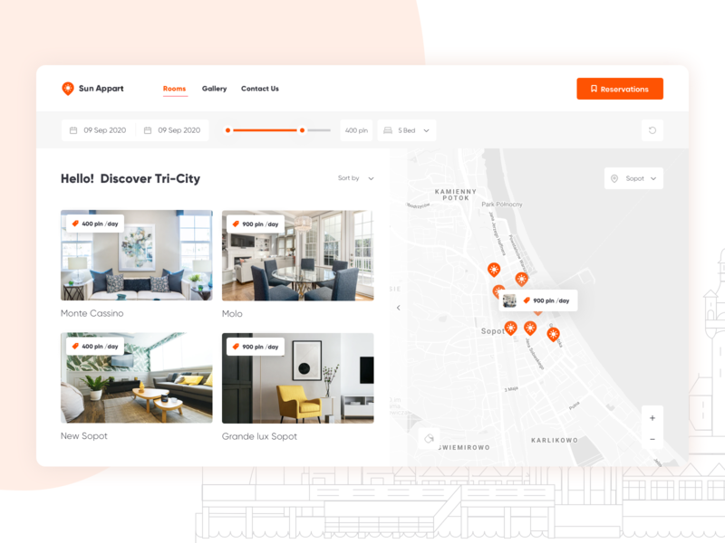 Sun Appart - Location☀️🏖️ 🏠 room property logo real estate booking search schedule trip holiday card vacation rental renting apartament product design orange sun planning travel navigation location map
