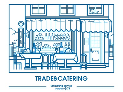 Trade&catering cat street vector restoran image illustrate caffee